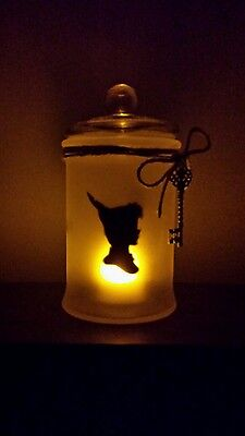 Peter Pan Tinkerbell Inspired Silhouette Handmade Frosted Glass Jar