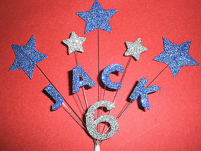 Personalised Star Birthday Cake Topper/Decoration - Blue/Silver - Any Name/Age