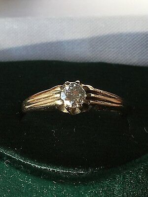 9ct Yellow Gold Diamond Solitaire Gypsy Ring