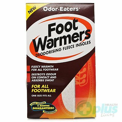Odor-Eaters Foot Warmers Deodorising Fleece Insoles For all Footwear