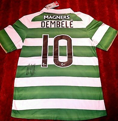 Moussa dembele signed celtic shirt in presentation box / invincibles treble COA