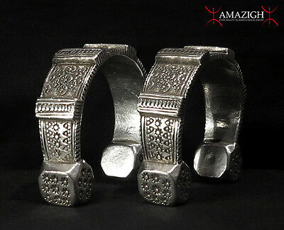 Old Pair Berber Anklets – Massive Silver - AIT JELIDASSEN Tribe, North Morocco
