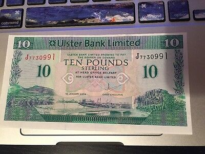 Northern Ireland 10 Pounds Ulster Bank Banknotes mis-cut Error