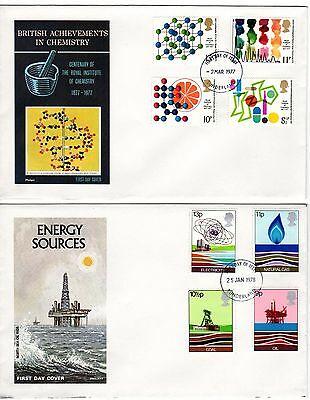 GB FDC 1977 / 78 First Day Covers - Energy Sources & Chemistry - stamps