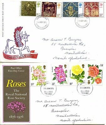 GB FDC 1976 First Day Covers - Roses and English Embroidery - stamps