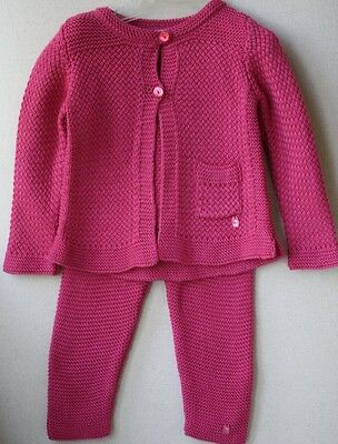Baby Dior Fuchsia Knit Cardigan And Leggings Outfit 9 Months