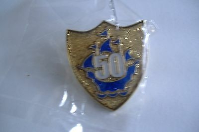 RARE,!! GENUINE OFFICIAL 50th  ANNIVERSARY BLUE PETER BADGE ,NEW!!!