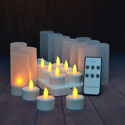 12 pcs/ Set Rechargeable LED Tea Light Candle with Remote Control Outdoor Candle