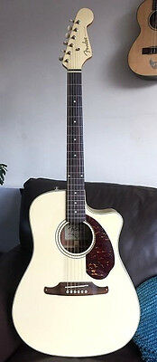 Fender Sonaran Electro-Acoustic Guitar White with Fishman Pickup Mint Condition