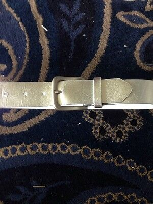 Silver Leather Effect Belt