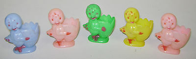 """5 Vintage Happy Easter Hard Plastic Baby Chick W/ Egg Candy Holders Rosen 3"""""""