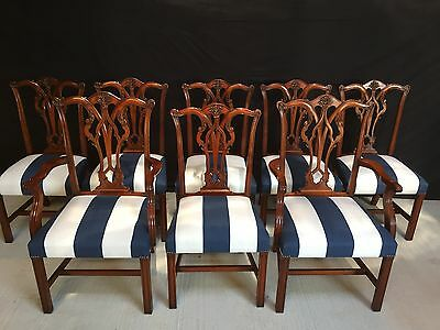 Sets Of Exquisite Chippendale Mahogany Chairs Pro French Polished & Upholstered