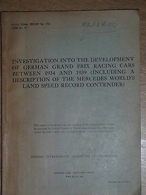 Very Rare 1947 government report on pre war german racing cars. Mercedes book.