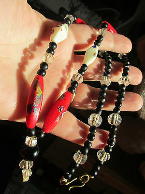 Vintage Art Deco Millefiori and mixed  bead Necklace, unusual.