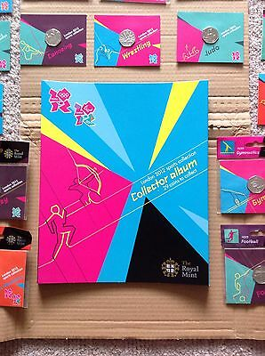 Full Set London 2012 Olympics 50p Coins Complete with Album & Completer Medal.