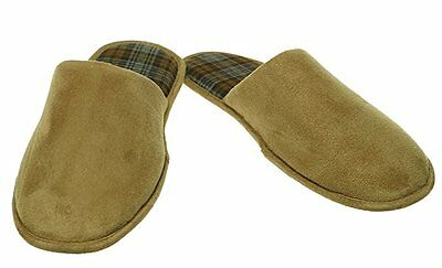John Ashford Men's Micro-Suede Scuff Slippers, Tan Color, Sz. XLarge