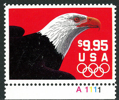US Scott #2541 Eagle and Olympic Rings $9.95 Express W/Plate # MNH***FREE SHIP**