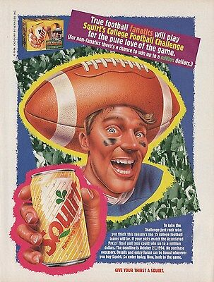 Awesome Old 1994 SQUIRT SODA Poster Print Ad Footall Hat Head