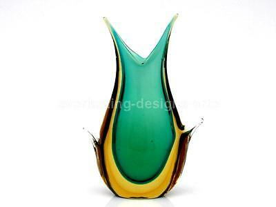 Vintage Extra Large Stylish Murano Sommerso Art Glass Wing Vase by Flavio Poli
