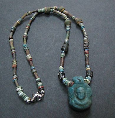 NILE  Ancient Egyptian Roman Period Amulet Mummy Bead Necklace ca 300 BC