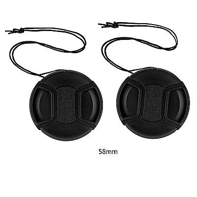 2 x 58mm Front Lens Cap Hood Cover Snap-on For Canon Nikon Sony DSLR Camera