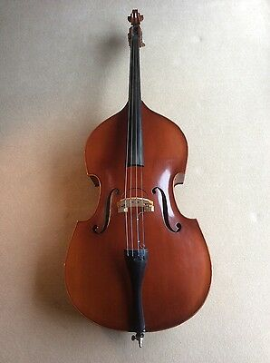 Romanian 3/4 carved top double bass circa 1980