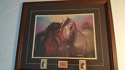 """love Conquers All"" Framed Horse Picture With Stamps By Susie Morton"