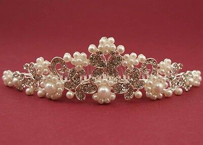 Holy Communion Butterfly Tiara Comb  with Clear Crystal Stones and Pearls