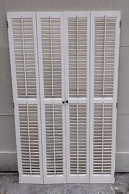 "52 1/8"" T x 30 3/4"" VTG Colonial Wood Interior Louver Plantation Window Shutters"