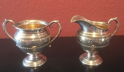 Wallace Sterling Silver Rose Point ~ Mini Creamer & Open Sugar Set ~ No Mono