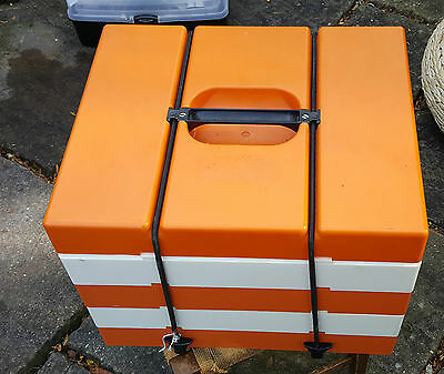"""Vintage 1960s PICNIC """"Pac A Pic"""" Camping Box Set Orange & White Food containers"""