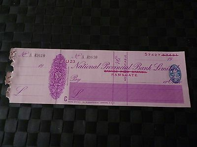 National Provincial Bank Limited Ramsgate Cheque *as Pictures-Look And Decide*