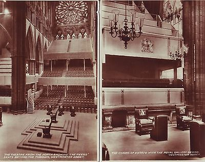 WESTMINSTER ABBEY, Coronation Souvenir Set of Three Real Photograph Cards GC
