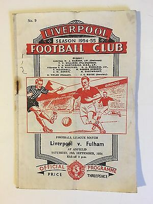 Liverpool v Fulham 1954/5 - Football Programme