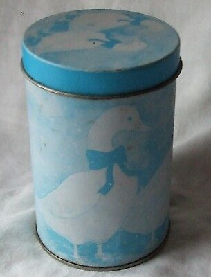 Vintage Round Blue GOOSE with Bows TIN