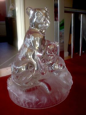 Crystal Rock Glass Figure Group of Lioness and Lion Cub