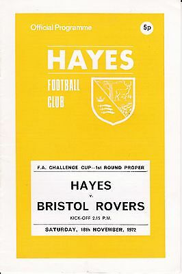 Hayes v Bristol Rovers FA Cup 1st Round 1972/73