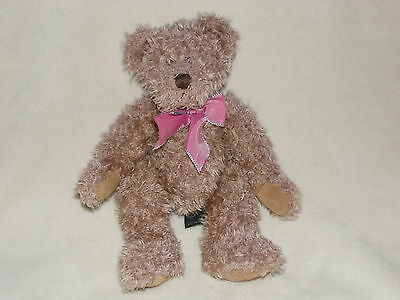 Russ Berrie Harlington Teddy Bear Soft Toy Brown Purple Ribbon Comforter Doudou