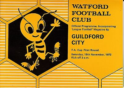 Watford v Guildford City FA Cup 1st Round 1972/73