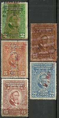 us possession Puerto Rico revenue stamps scott re35//48 - 5 issues of 1942/57 #2