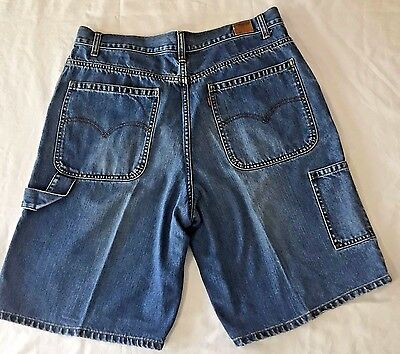 34 Levis Red Tab Denim Jean Shorts Carpenter 6 Pocket Relaxed Fit Waist 34