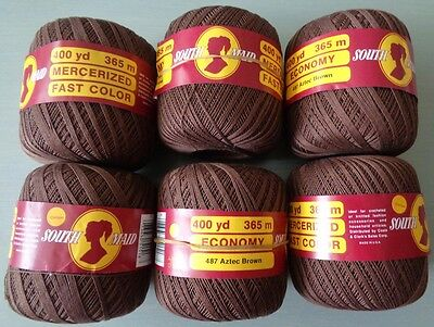 SOUTH MAID vintage MERCERISED COTTON yarn crochet knitting craft 6 balls BROWN