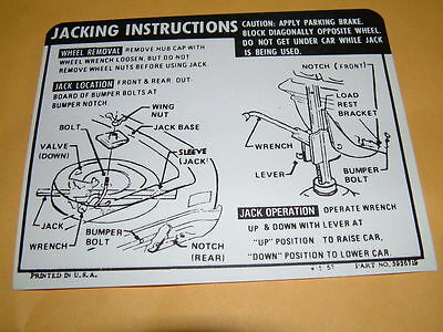 Jacking Instruction Decal 68 69 Chevelle