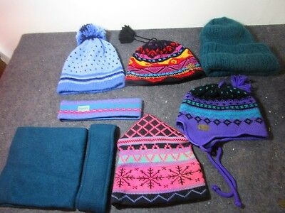 large lot of vintage women's winter knit hats & head bands name brands