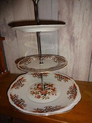 3 tier china cake stand, Colclough vintage china