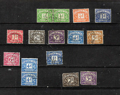 Stamps GB Pre Decimal Postage Due Used Mixed Wmk Lot of 13 hinged