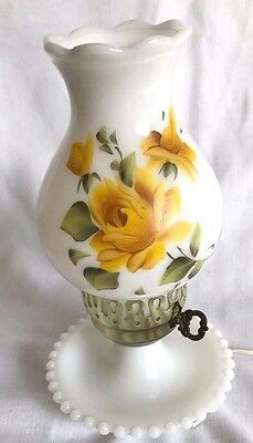 Vintage Hand Painted Yellow Rose On Milk Glass Hurricane Table Lamp By Fenton