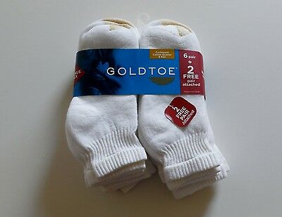 Gold Toe 8 Pair Cotton Quarter Men's Socks Size L (10-13) New