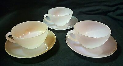 Set Of 3× French Arcopal Cups & Saucers