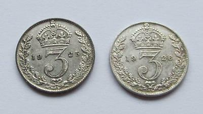 George V Silver threepences  1925 & 1926 - Good collectable coins